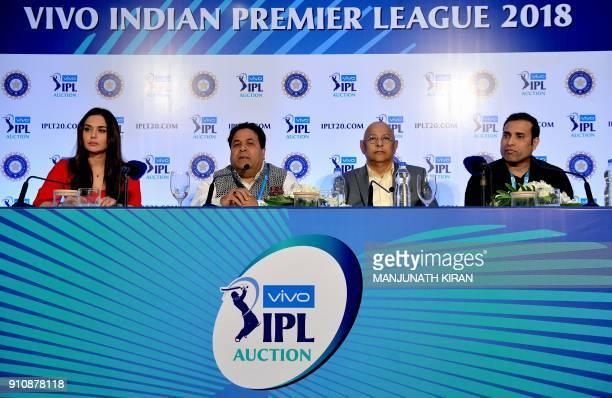 Bollywood actor and owner of Kings XI Punjab Team Preity Zinta Indian Premier League chairman Rajiv Shukla Secretary BCCI Amithab Chaudhary and...