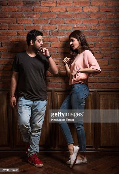 Bollywood actor and producer Anushka Sharma with her elder brother Karnesh Sharma poses during an exclusive interview with ht48hoursHindustan Times...