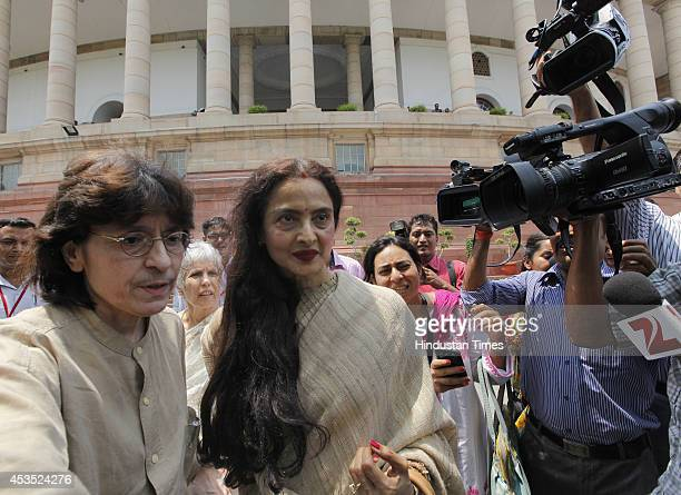 Bollywood actor and Rajya Sabha MP Rekha Film at Parliament during budget session on August 12 2014 in New Delhi India The 59yearold Bollywood...