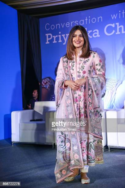 Bollywood actor and UNICEF Global Goodwill Ambassador Priyanka Chopra during a UNICEF event on December 23 2017 in New Delhi India