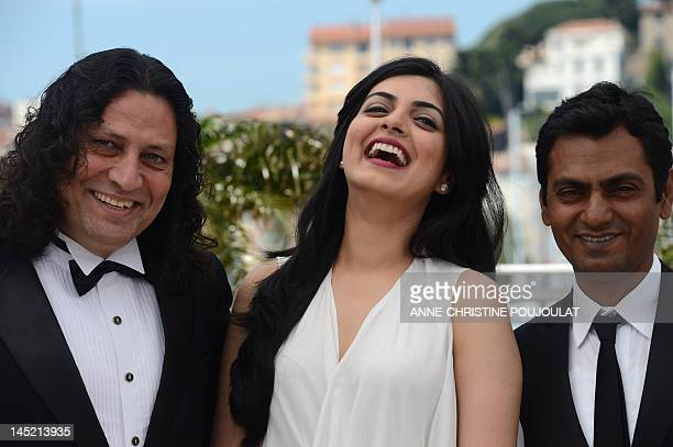 Bollywood actor Anil George Bollywood actress Niharika Singh and Bollywood actor Nawazuddin Siddiqui pose during the photocall of Miss Lovely...