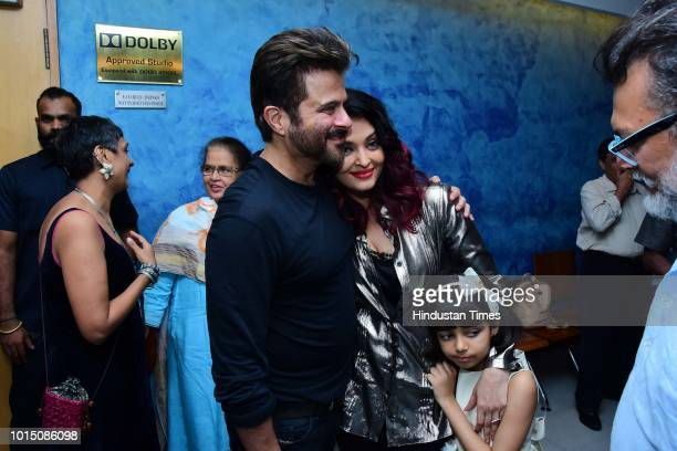 Bollywood actor Anil Kapoor and Aishwarya Rai Bachchan her daughter Aaradhya Bachchan during screening of movie Fanney Khan in Andheri on August 3...