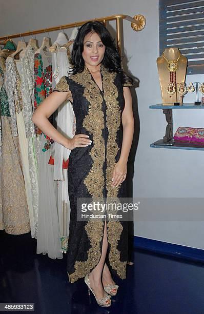 Bollywood actor Anjana Sukhani during the store opening of designer Mayyur Girotra on April 18 2014 in Mumbai India