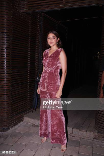 Bollywood actor Anushka Sharma during a birthday party of film producer and director Aanand L Rai at Estella Juhu on June 28 2018 in Mumbai India