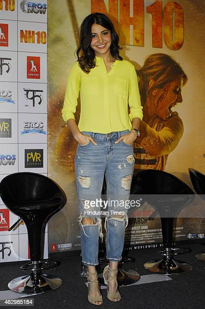 Bollywood actor Anushka Sharma during the first trailer launch of upcoming film NH10 at PVR ECX Andheri on February 5 2015 in Mumbai India Anushka is...