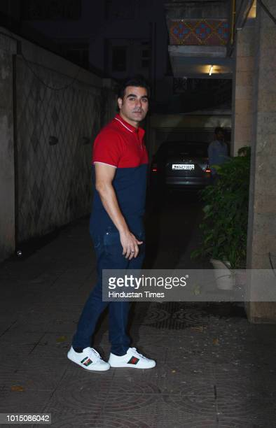 Bollywood actor Arbaaz Khan arrives for a family gettogether at home of his exwife Malaika Aroras mother Joyce Polycarp in Bandra on August 8 2018 in...