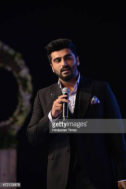 Bollywood actor Arjun Kapoor after receiving Fevers Listeners Choice Award during the Hindustan Times Delhis Most Stylish 2015 award function on May...