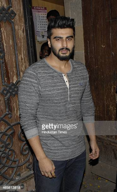 Bollywood actor Arjun Kapoor arrives for actor Anil Kapoors gettogether to share the trailer of the film Dil Dhadakne Do on April 13 2015 in Mumbai...