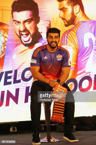 Bollywood actor Arjun Kapoor new coowner of Indian Super League franchise FC Pune City at JW Marriot Hotel Juhu on October 26 2017 in Mumbai India