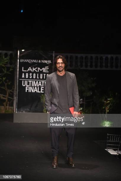 Bollywood actor Arjun Rampal walks for the designer duo Shantanu Nikhil at Lakme Fashion Week Summer/Resort 2019 at Jio Garden BKC on February 3 2019...
