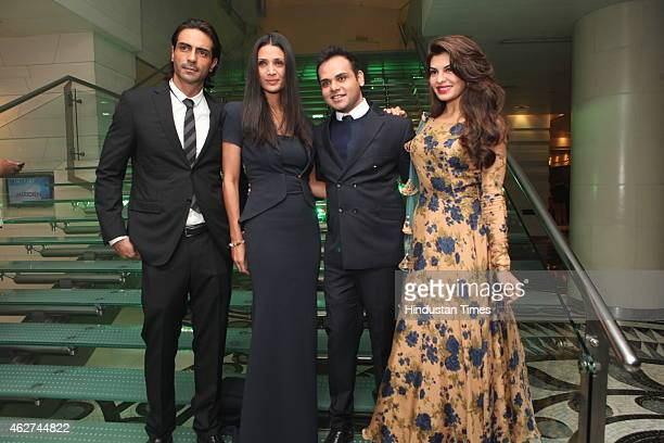 Bollywood actor Arjun Rampal with wife Mehr Jesia Rampal Ashiesh Shah and actor Jacqueline Fernandez during India Art Fair closing party at Le...