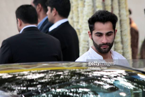 Bollywood actor Armaan Jain at the funeral of Ritu Nanda at Lodhi Road Crematorium on January 14 2020 in New Delhi India Ritu Nanda late actor Raj...