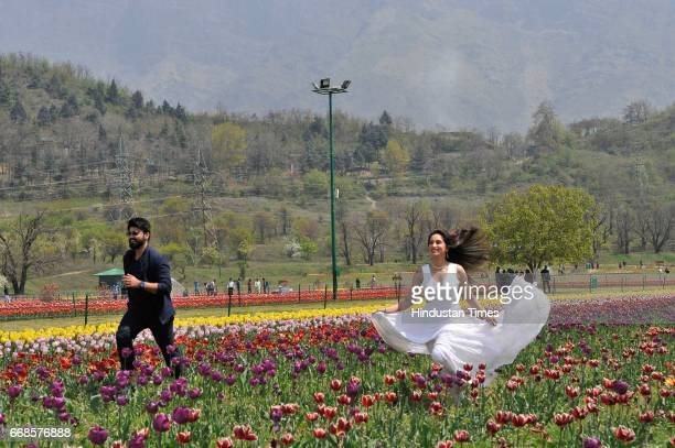 Bollywood actor Arya Babbar and Smita Gondkar during shooting for their upcoming movie Hai Tujay Salam India at tulip garden on April 14 2017 in...
