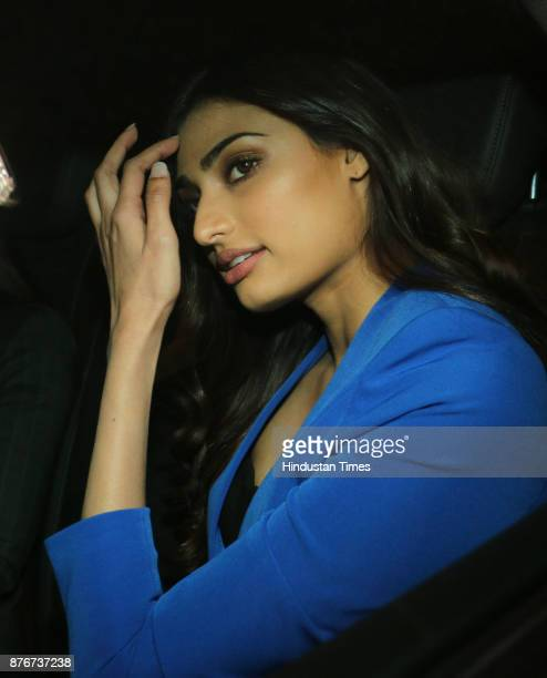 Bollywood actor Athiya Shetty arrives at party thrown by Farha khan for English singer ED Sheeran at her residence Oberoi sky high Andheri West on...
