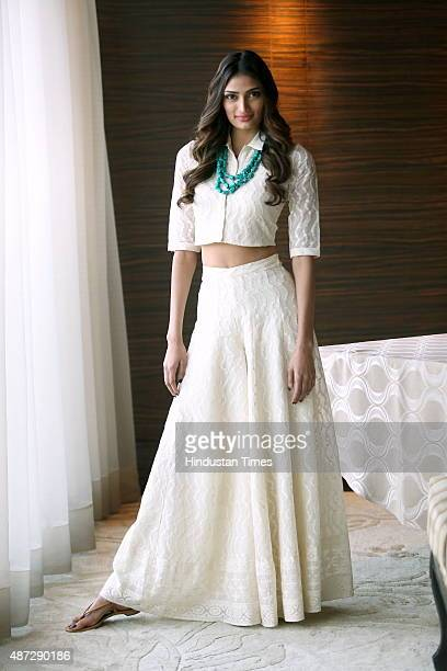 Bollywood actor Athiya Shetty poses for a profile during an interview on September 5 2015 in New Delhi India