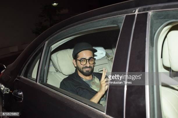 Bollywood actor Ayushmann Khurrana arrives to attend the special screening of movie Ittefaq on November 3 2017 in Mumbai India
