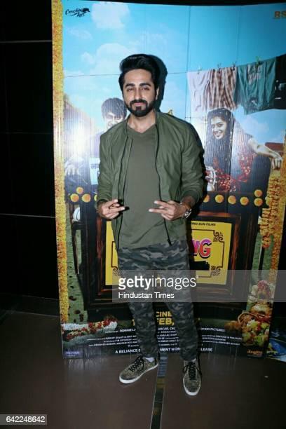 Bollywood actor Ayushmann Khurrana during the special screening of film Running Shaadi at Cinepolis Andheri on February 15 2017 in Mumbai India The...