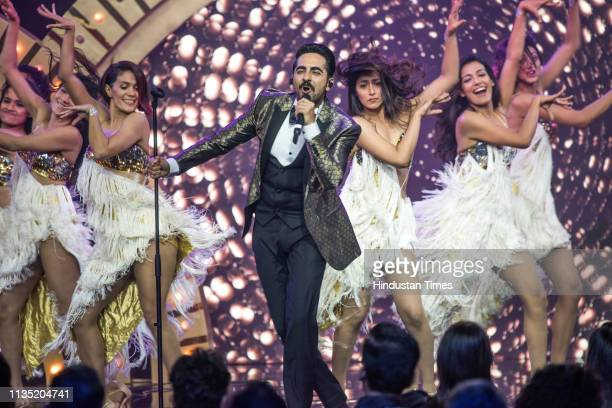 Bollywood actor Ayushmann Khurrana performs during the Hindustan Times India's Most Stylish Awards 2019 at St Regis on March 29 2019 in Mumbai India