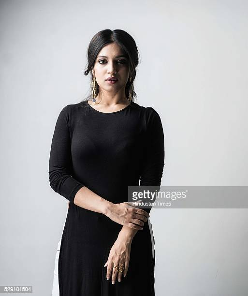 Bollywood actor Bhumi Pednekar poses during an exclusive interview with ht48hoursHindustan Times at Andheri on January 22 2016 in Mumbai India