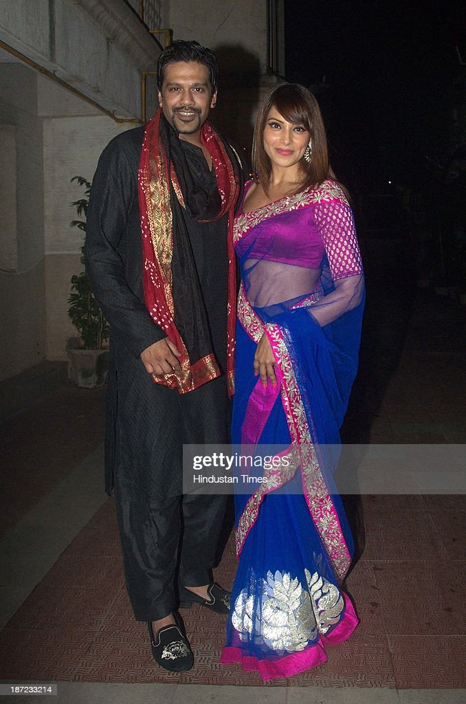 Bollywood actor Bipasha Basu with Rocky S during Diwali party at her residence on November 3 2013 in Mumbai India