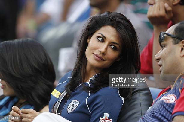 Bollywood actor Chitrangada Singh enjoying IPL T20 match played between Deccan Chargers and Delhi Daredevils at the Gandhi International Stadium on...
