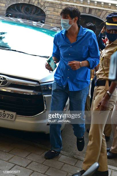 Bollywood actor Chunky Pandey arrives at the Narcotics Control Bureau office in Mumbai on October 21, 2021.