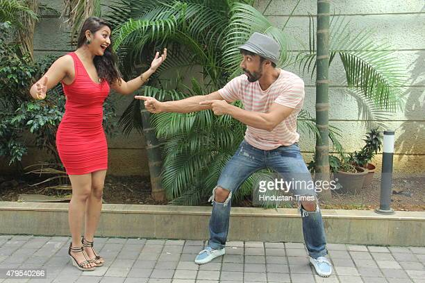 Bollywood actor contestant Ashish Chowdhry and his choreographer Vrushali Chavan during the promotion of dance reality show Jhalak Dikhhla Jaa 8 at...