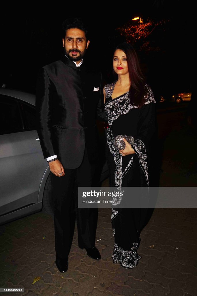 Bollywood actor couple Abhishek Bachchan and Aishwariya Rai Bachchan spotted at party hosted by artist Mickey Contractor on January 18 2018 in Mumbai.