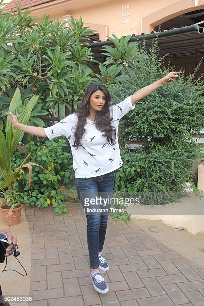 Bollywood actor Daisy Shah posing for a photograph during a media interaction of her performance for Country Club during New Year's eve on December...