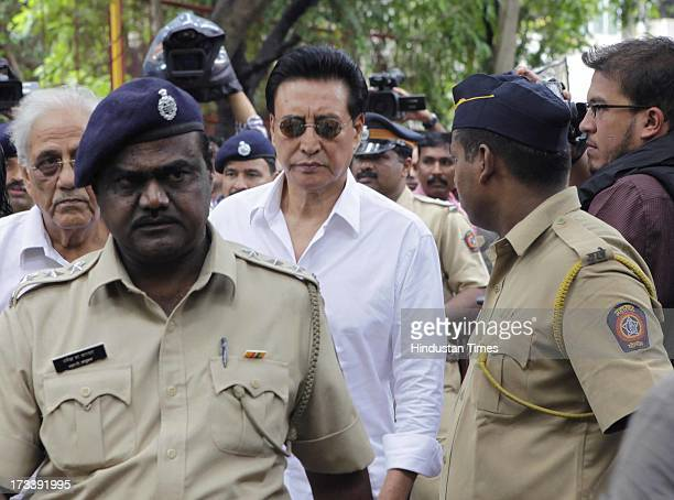 Bollywood actor Danny Denzongpa arrives to pay his last respects to Bollywood actor Pran during the cremation at Shivaji Park Crematorium Dadar on...