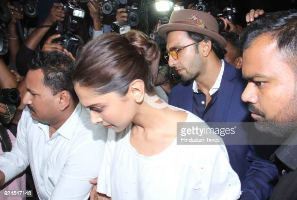 Bollywood actor Deepika Padukone and Ranvir Singh visit Anil Kapoor residence at Juhu to offer condolences to the family after the demise of...