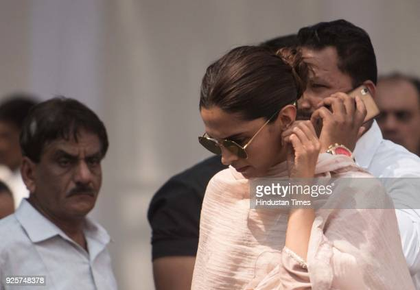 Bollywood actor Deepika Padukone at celebration club to pay last respect to the late actor Sridevi at Andheri on February 28 2018 in Mumbai India The...