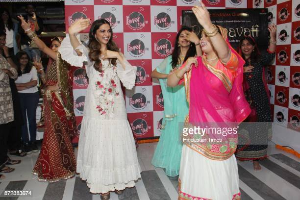 Bollywood actor Deepika Padukone dances with Fever104 RJ Alleyah and her fans during an exclusive interview with Hindustan Times for the promotion of...