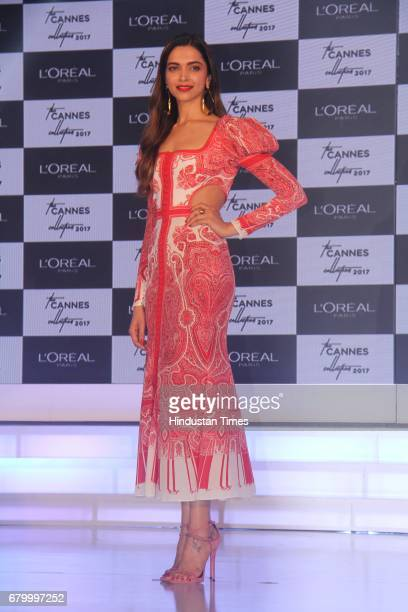 Bollywood actor Deepika Padukone during the unveiling of L'Oreal Paris Cannes Collection 2017 at Taj Lands End Bandra on May 5 2017 in Mumbai India