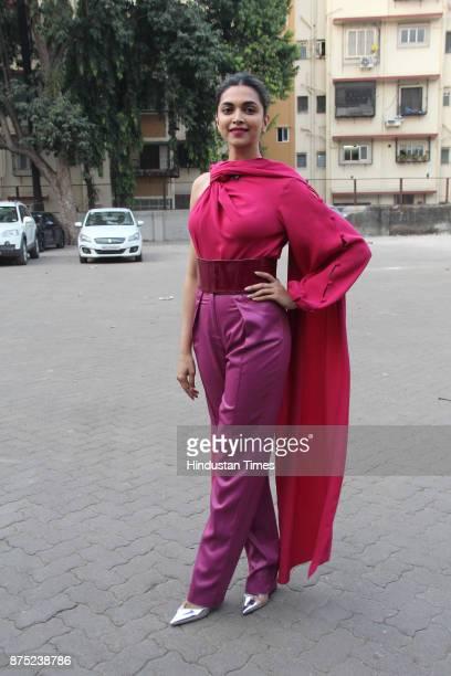 Bollywood actor Deepika Padukone spotted at a studio in Bandra on November 15 2017 in Mumbai India