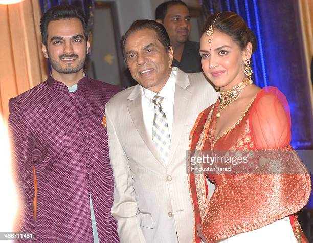 Bollywood actor Dharmendra with his daughter Esha Deol and her husband Bharat Takhtani during the sangeet ceremony of Ahana Deol and Vaibhav Vohra on...