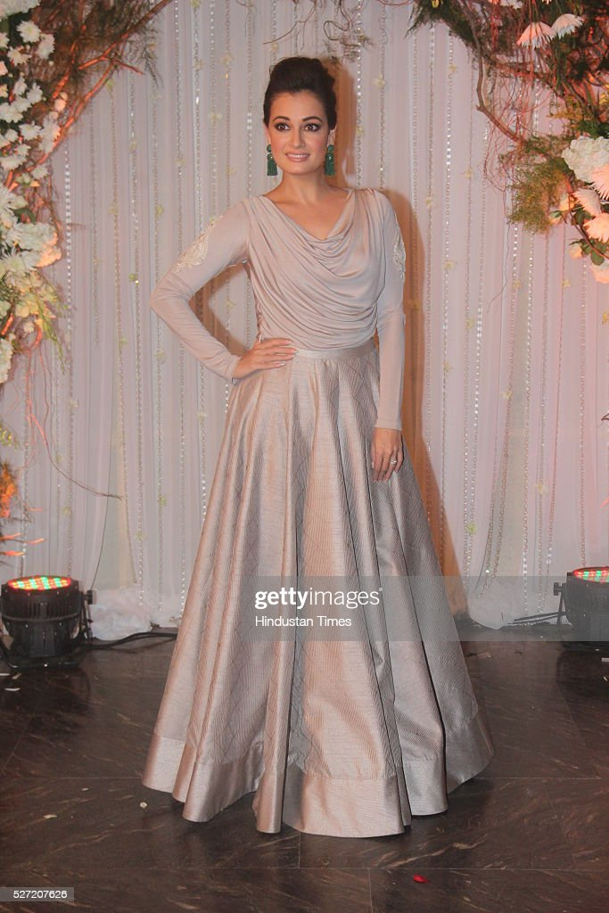 Bollywood actor Dia Mirza at wedding reception of couple Bipasha Basu and Karan Singh on April 30 2016 in Mumbai India Bipasha Basu got married to...