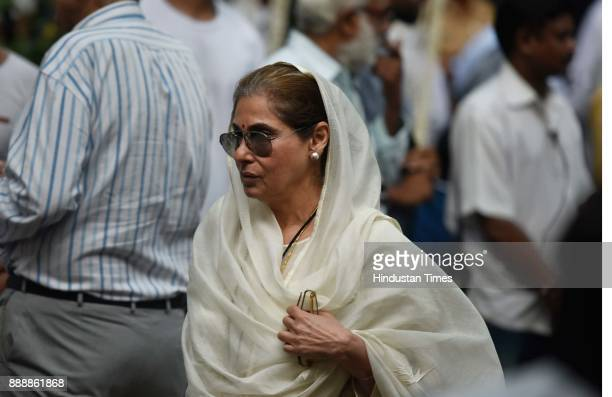 Bollywood actor Dimple Kapadia during a condolence meeting of late actor Shashi Kapoor at Prithvi Theatre Juhu on December 7 2017 in Mumbai India...
