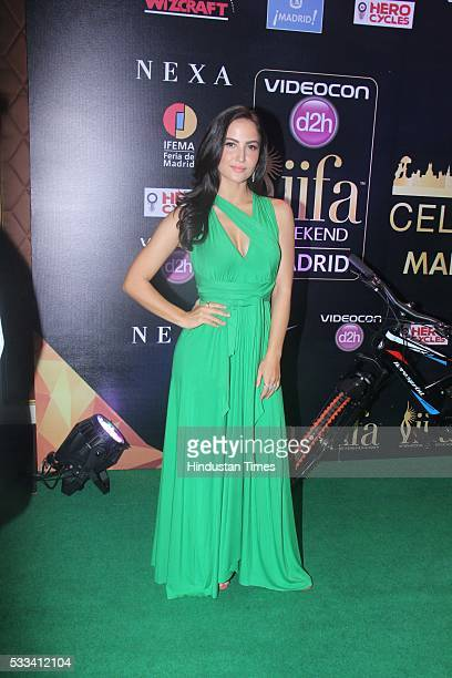 Bollywood actor Elli Avram during the press conference of 16th International Indian Film Academy Awards at Taj Lands End Bandra on May 20 2016 in...