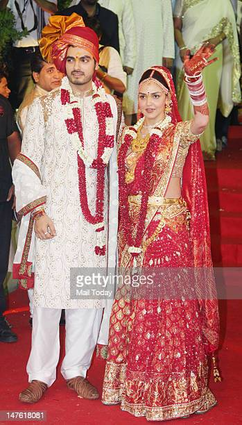 Bollywood actor Esha Deol and Bharat Takhtani at their wedding ceremony in Mumbai on Friday