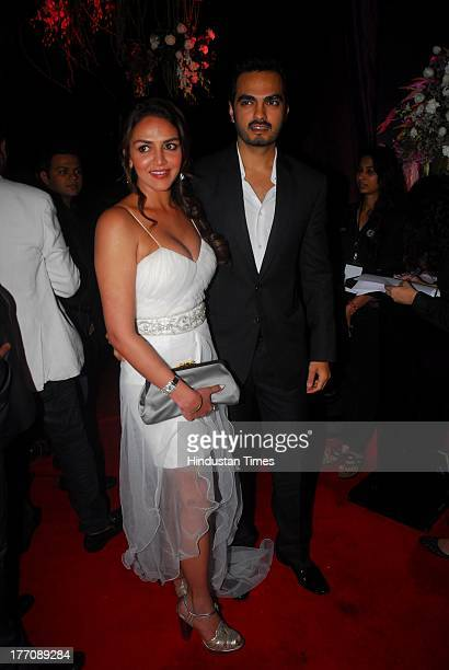 Bollywood actor Esha Deol with her husband Bharat Takhtani during the celebration of Sridevi's 50th birthday at Alibi Colaba on August 17 2013 in...