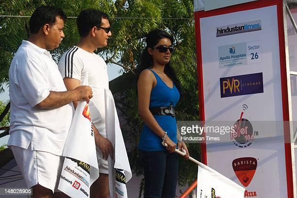 Bollywood actor Geeta Basra attends the Marathon Noida 10k from Ramleela Ground, Noida Stadium at Sector 21A on July 8, 2012 in Noida, India.