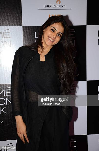 Bollywood actor Genelia D'Souza during the Lakme Fashion Week Winter Festive 2016 on August 24 2016 in Mumbai India