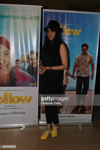 Bollywood actor Genelia D'Souza during the special screening of Marathi film Yellow on April 2 2014 in Mumbai India