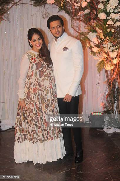 Bollywood actor Genelia D'Souza who is soon going to give birth to her second baby with actor husband Riteish Deshmukh at wedding reception of couple...