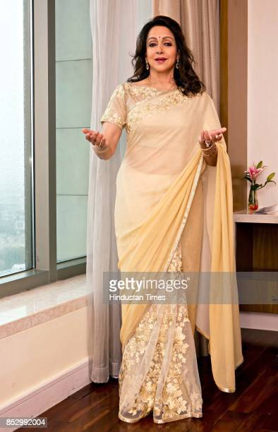 Bollywood actor Hema Malini during an exclusive interview with HTCityHindustan Times at Crown Plaza Okhla on August 31 2017 in New Delhi India The...