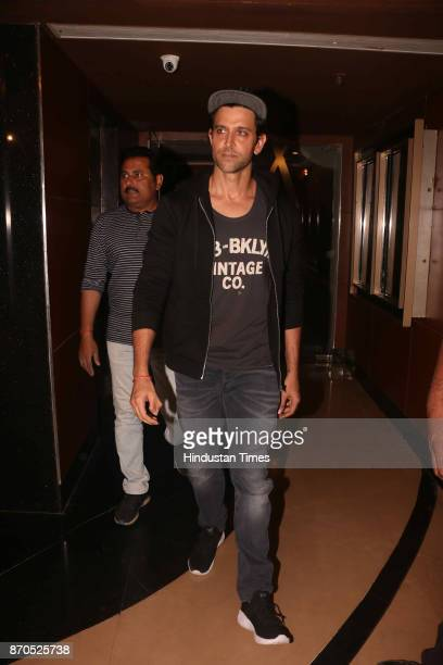 Bollywood actor Hrithik Roshan arrives to attend the special screening of movie Ribbon on November 3 2017 in Mumbai India