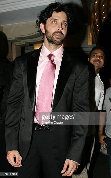Bollywood actor Hrithik Roshan arrives to attend the wedding reception for Rashi Agarwal and Hemant Bhanadari at ITC Grand Maratha Sheraton on...