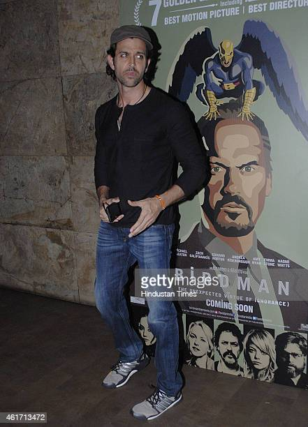 Bollywood actor Hrithik Roshan during the special screening of Hollywood film Birdman on January 16 2015 in Mumbai India