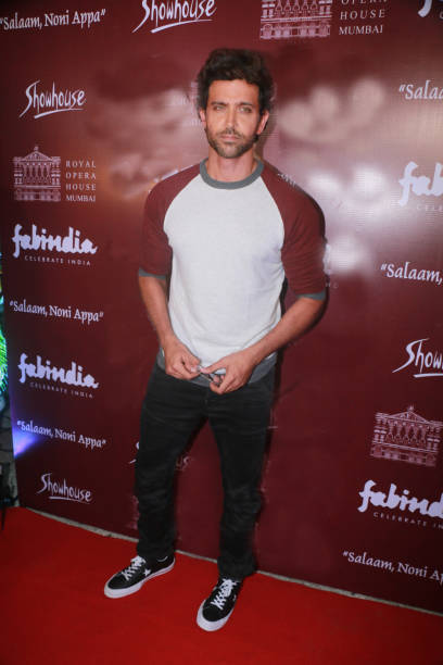 Bollywood actor Hrithik Roshan spotted during preview of play Salaam Noni Appa at the Royal Opera House Girgaon on October 28 2017 in Mumbai India...